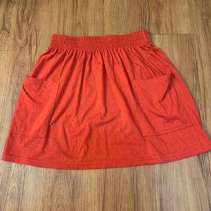 American Apparel Orange Elastic Waist Cotton Skirt